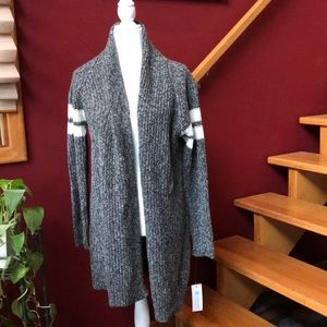 NWT Varsity Stripe Cotton Blend Cardigan Gray